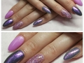 Falkirk Nails Unique Jan 2017, Refill with Shellac gel polish and a little bit of sparkle on these lovely nails, show us some purple and pink