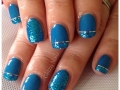 Cumbernauld: Glitzy Nails by Caireen, #azureblue Marine #Glitter applied to tips with #silver #striping tape Glitzy Nailz 2014
